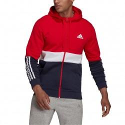 Adidas Essentials Ανδρικό Φούτερ Ζακέτα με Κουκούλα και Τσέπες Fleece Red / Navy / White H58979