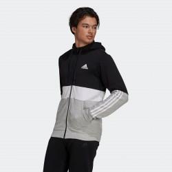 Adidas Core Linear Essentials Ανδρικό Φούτερ Ζακέτα με Κουκούλα και Τσέπες Black / Grey GV5244