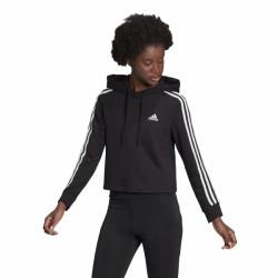 Adidas Essentials 3-Stripes Cropped Γυναικείο Φούτερ με Κουκούλα Μαύρο