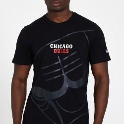 New Era T-Shirt New Era CHICAGO BULLS GRADIENT AND GRAPHIC BLACK TEE -12369805