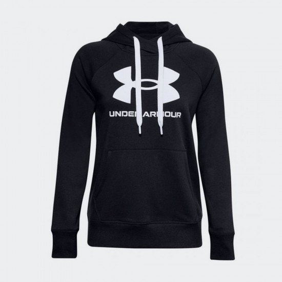 Under Armour Rival Logo Γυναικείο Fleece Φούτερ με Κουκούλα Μαύρο